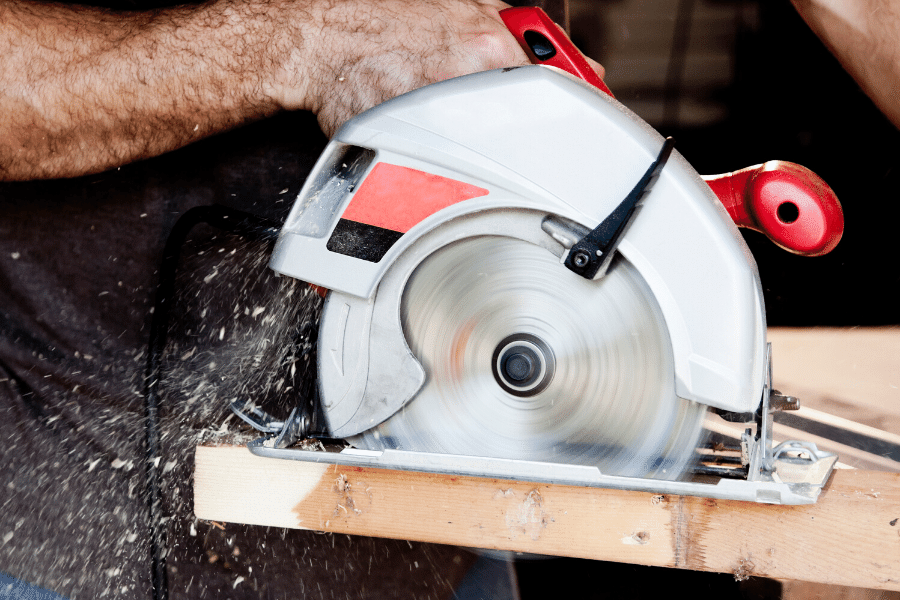 A skill saw that our handyman company in Cache Valley is using to cut a board.
